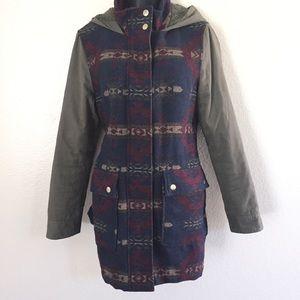 Boho Aztec Coffee Shop Western Pattern Long Coat L